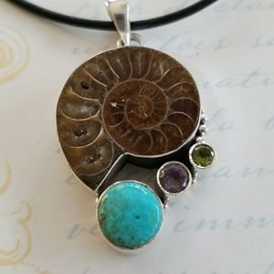 Ammolite Fossil Pendant W/ Turquoise and Amethyst